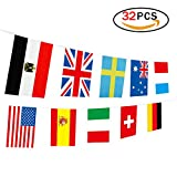 Hemore World National Flaggen Banner 32 International Länder Aufhängen String Flaggen [20x28 cm] für fahnenkette wm 2018