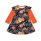 BaZhaHei Vestito per Bambini Halloween Ragazza Abito da Principessa Manica Lunga Zucca Stampa Vestito da Festa Casual Dress età 6mesi - 4anni