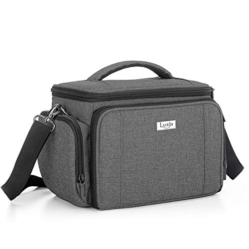 Luxja Carrying Bag for Cricut Joy, Carrying Case for Cricut Joy and Tool Set, Tote for Cricut Joy (with Supplies Storage Sections, Patent Pending), Gray (Blue Lining)