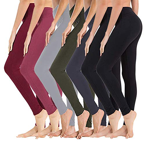 High Waisted Leggings for Women - Soft Athletic Tummy Control Pants for Running Cycling Yoga Workout - Reg & Plus Size (7 Pack Black x 2/Navy/Olive/Light Grey/Wine/Dark Rose Pink, Large - X-Large)