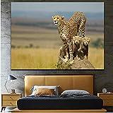 NR HD Gedruckt Geparden Tiere Leinwand Poster Malerei Wandkunst Bilder Poster Kunstwerk für Wohnzimmer Wohnkultur (60x100 cm Kein Rahmen)