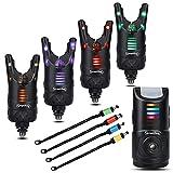 Sougayilang Carp Fishing Bite Alarm Swingers Set, 4 piezas de colores LED Receptor de alarmas de mordida de pesca y Swingers con caja, Pesca nocturna al aire libre para la pesca de carpas