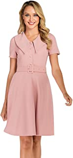 Wellwits Women's Button up Shirt Collar Vintage Career Dress with Pocket