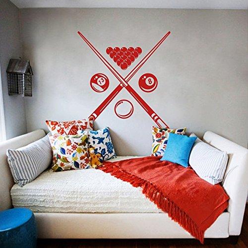 Billiard Sport Wandtattoo Wandtattoo Spielzimmer Spielzimmer Dekor-Kunst-entfernbarer Aufkleber für Jungen Zimmer (Large,Tomato Red)