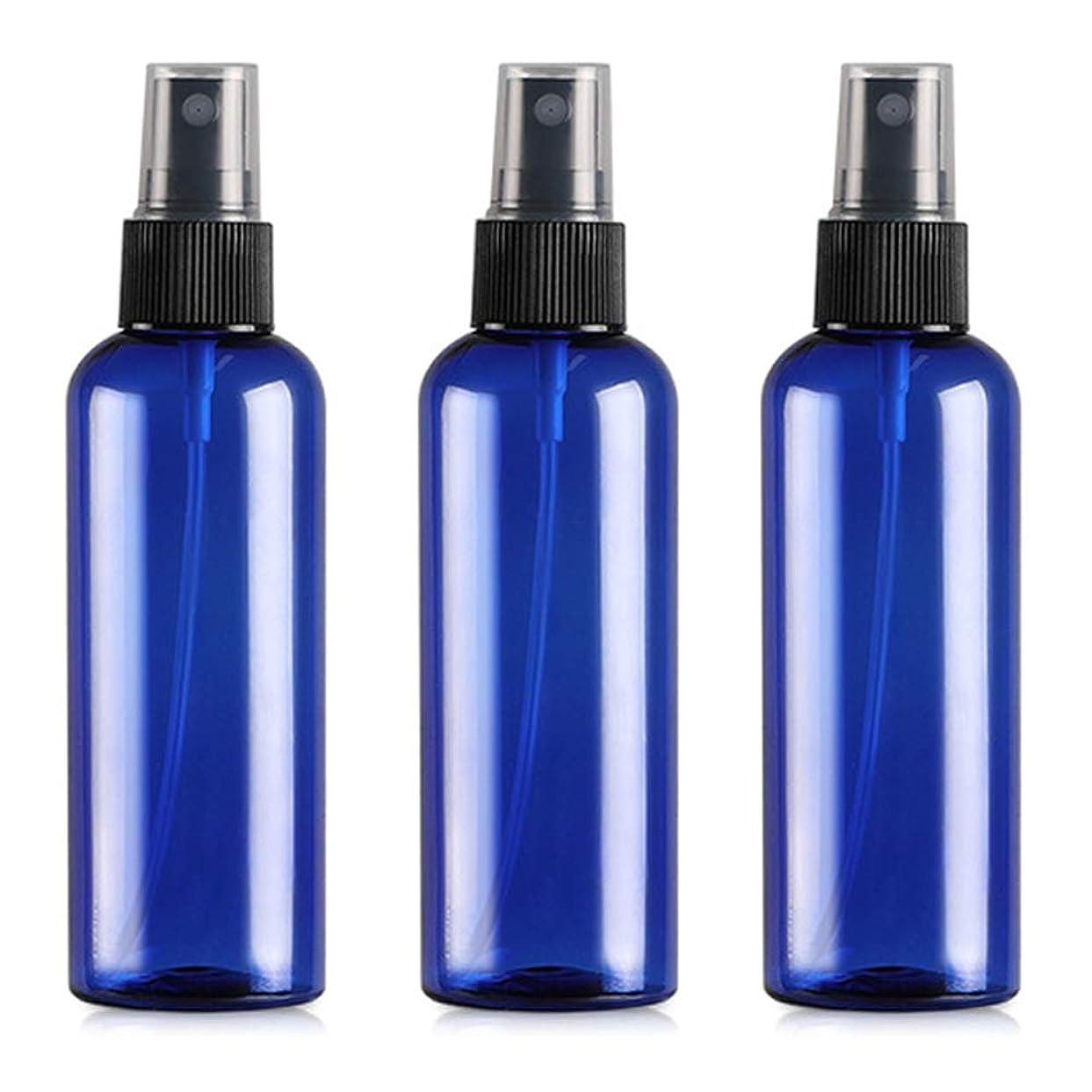 有害なストラトフォードオンエイボン酸っぱい遮光瓶 スプレーボトル (グラス/アトマイザー) 100ml / コバルトブルー ブラックヘッド 3本セット