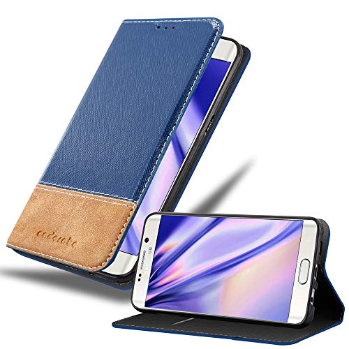 Cadorabo Funda Libro para Samsung Galaxy S6 Edge Plus en Azul MARRÓN - Cubierta Proteccíon con Cierre Magnético, Tarjetero y Función de Suporte - Etui Case Cover Carcasa