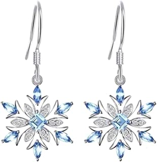 JKoYu Earings for Women,Fashion Women Rhinestone Inlaid Snowflake Dangle Hook Earrings Jewelry Xmas Gift