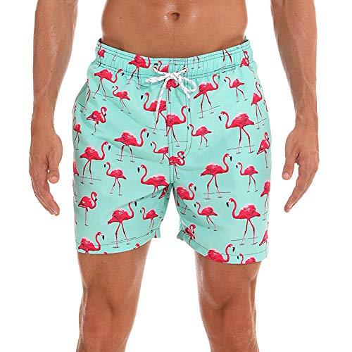 HLVEXH Badehose für Herren Schnelltrocknend Neuheit Lustige Strandshorts mit Mesh-Futter Surfer Badeshorts 3D Licht Grün Rosa rot Flamingo Muster M