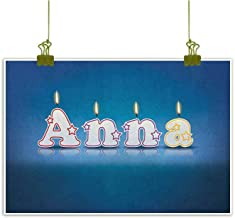 QIAOQIAOLO High Definition Printing Oil Painting Anna Unique Design Birthday Candles with Little Stars in Shape of Letters Newborn Girls Name W35 x L31 Blue and Multicolor