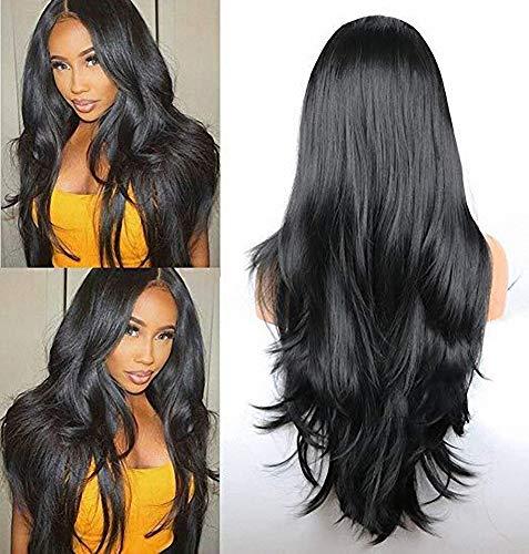 Perruques avant de lacet pour femmes, cheveux noirs de micro rouleau noir long cheveux bouclés, aucune trace longue perruque naturelle de dentelle de fibre résistante à la chaleur naturelle,20inches