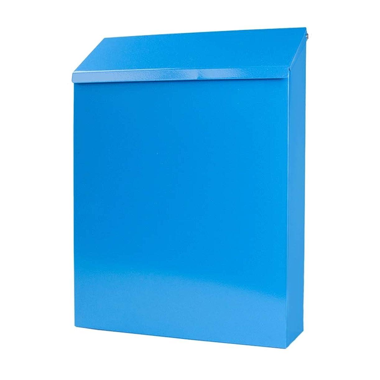彼自身無駄だポゴスティックジャンプロックウォールマウントメールボックス、防錆そして、耐候性小容量のメールボックス、住宅ビジネススクールのために、5色 (Color : Blue)