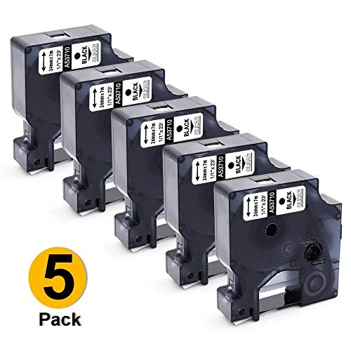 Airmall Compatible Label Tape Replacement for DYMO 53710 Black on Clear S0720920 Label Tape, 24mm, to use with LabelManager LabelManager 500TS, LabelManager 260P, 1 Inch x 23 Feet (24mm x 7m)