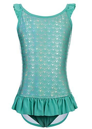 DUSISHIDAN Einteiliger Bademode Sommer Mädchen Bikini Heißes Silber Grüne Fischschuppen, Rüschen an Schultergurten und Taille XL