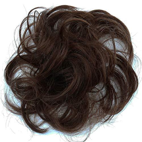PRETTYSHOP 100% ECHTHAAR Haargummi Haarteil Haarverdichtung Zopf Haarband Haarschmuck Braun H312d