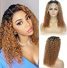 Ombre Lace Front Wigs Human Hair, A ALIMICE 1B/30 Colored Human Hair Wigs for Black Women Human Hair Curly Lace Front Wigs Human Hair with Baby Hair 150% Density Deep Wave Lace Front Wig (14 Inch)