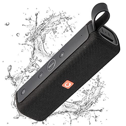 DOSS E-Go2 Bluetooth Lautsprecher Soundbox mit Dual-Treiber besserem Bass IPX6 Wasserdicht Tragbar Drahtlos 8 St Spielzeit【Schwarz】