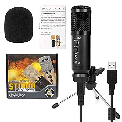 Kmise Professional USB Metal Condenser Recording Microphone,Headphone Output and Volume Control, Mic Gain Control, Adjustable Stand, Plug and Play,Multisystem