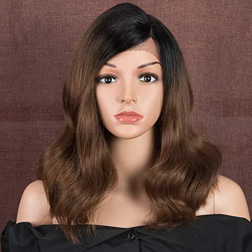 Style Icon Lace Front Perücken Wellige 38cm Haarperücken Haarersatz Synthetische Perücke Schulterlanges Seitenteil Natürlich aussehende Perücken Für Frauen mit hitzebeständiger Faser