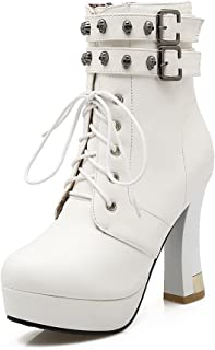 Womens Chunky Heels Bandage Metal Ornament Imitated Leather Boots