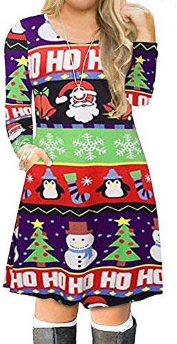 VISLILY Women's Plus Size Ugly Christmas Print Pockets Casual Loose A Line Dress 22W 01A