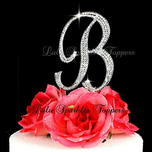 Crystal Rhinestone Cake Topper Letter B Script Font Large Size Initial B Cake Topper Custom Wedding Cake Topper