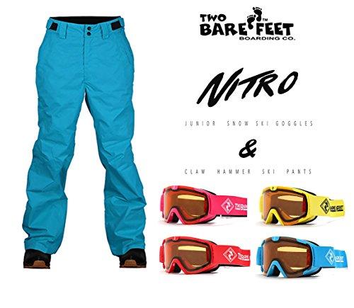 Two Bare Feet Enfants Marteau de Charpentier Pantalon de Ski + Nitro Lunettes de Ski, Arctic Blue Claw Hammer Pants + Yellow Ski Goggles