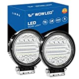 WOWLED LED Work Light, 2PCS 5' 72W Round LED Light Pods Spot Flood Combo Lights 6D Offroad Driving Work Fog...