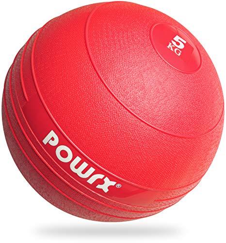 POWRX - Slam Ball Balón Medicinal 3-20 kg - Ideal para Ejercicios de Entrenamiento Funcional - (5 kg/Rojo)