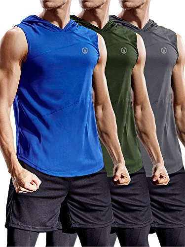 Neleus 3 Pack Workout Athletic Gym Muscle Tank Top with Hoods,5036,Olive Green,Grey,Blue,US L,EU XL