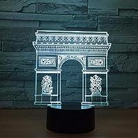城門3D LEDナイトライトクリエイティブホームデコレーション3Dビジョン3Dビジュアル照明7色変更USB充電テーブルランプ誕生日プレゼントエンターテイメント装飾ギフト子供のおもちゃ [並行輸入品]