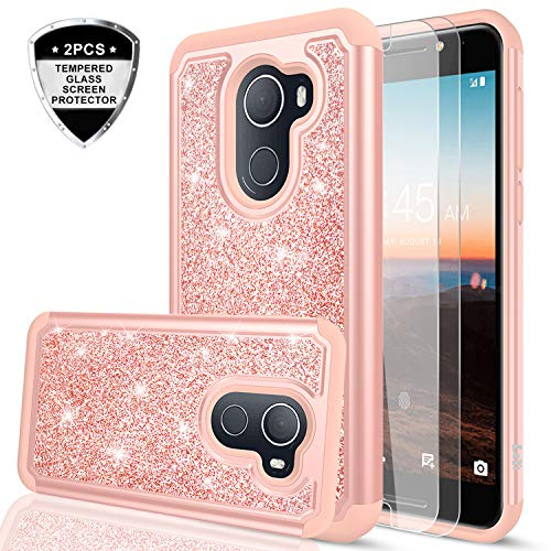 LeYi T-Mobile REVVL Case,Alcatel Walters / A30 Plus Case with Tempered Glass Screen Protector [2 Pack], Girls Women Glitter Phone Case for Alcatel A30 Fierce 2017 (5.5) TP Rose Gold