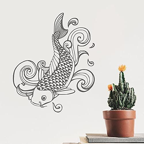 Estilo japonés koi pared calcomanía koi etiqueta tatuaje estilo zen meditación japonés koi etiqueta de pared vinilo dormitorio decoración mural 51x42cm