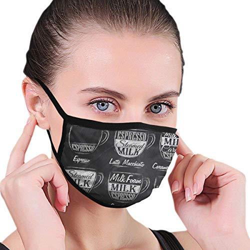 Juego de menú de café con tazas y nombres de bebidas en estilo retro dibujo tela media cara máscara bucal con orejeras anti polvo anti niebla máscara a prueba de viento