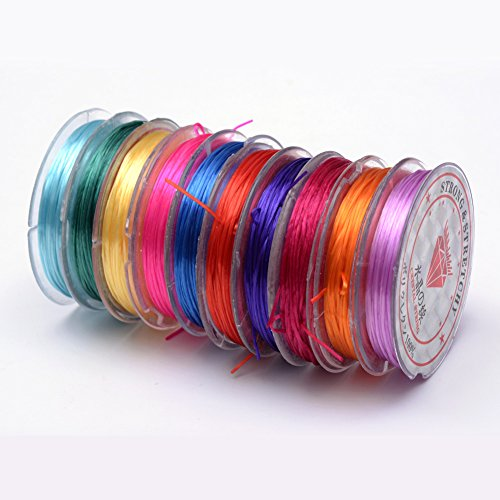 Craftdady 10 Rolls Elastic Crystal Beading Thread 0.5mm High Stretchy String Beaded Cord Mixed Colors for Beading Jewelry Making