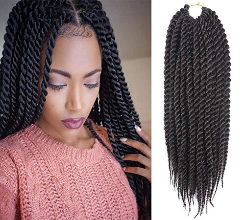 Havana Twist Crochet Hair Mambo Twist Senegalese Crochet Braids Braiding Hair 12 roots/Pack(6Packs) (24inch, 1B)
