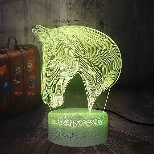 Novedosa luz nocturna de caballo blanco de pelo largo 4DLED luz multicolor acrílico multicolor luz nocturna decoración creativa lámpara de mesa pequeña con base agrietada