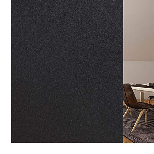 rabbitgoo Vinilo Ventana Privacidad, Esmerilado Vinilo Translucido Adhesivo Plus Rejilla Espaciada Cuadriculas Protector Privacidad Luz Solar Pegatina Decorativa contra UV Negro 44.5x200CM