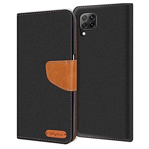Verco kompatibel mit Huawei P40 Lite Hülle, Schutzhülle für Huawei P40 Lite Tasche Denim Textil Book Hülle Flip Hülle - Klapphülle Schwarz