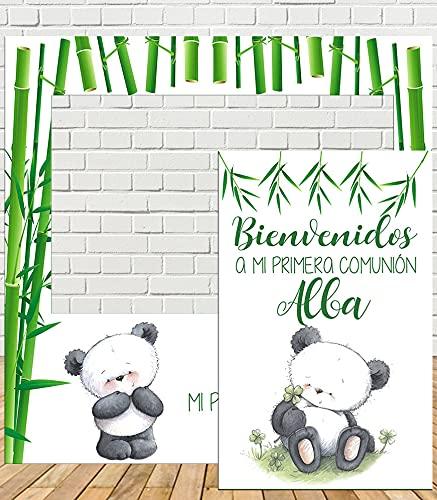 Tu Fiesta Mola Mazo Photocall de Comunión Oso Panda 100x100cm| Photocall Económico y Original | Regalo Cumpleaños| Personalizable