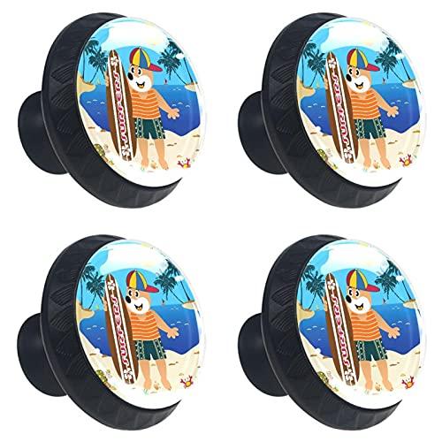 Tiradores para Muebles Niños Oso de playa Pomo para muebles cristal Pomos y Tiradores impresión Manija del cajón Para Habitación Infantil 4 piezas 3.5×2.8CM