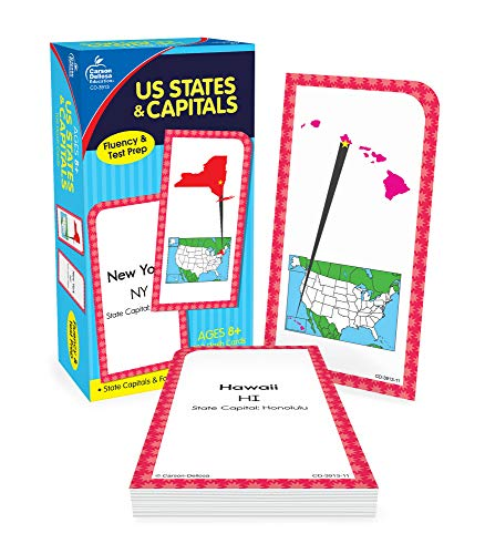 Carson Dellosa US States and Capitals Flashcards—Grades 3-5 United States Geography, History, and Fun Facts for All 50 States and Territories (109 pc)