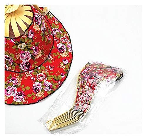 xiaofeng214 Mujeres Ventilador Plegable 2 en 1 Mano de la Fan Gorra for el Sol Sombrero Impreso Floral Plegable Estilo Chino del Ventilador de bambú Decoración del Ornamento (Color al Azar)