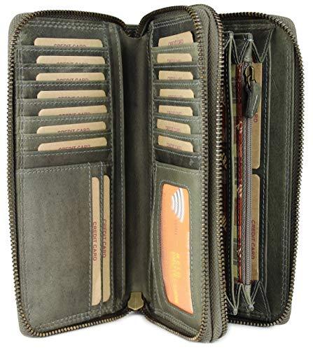 Hill Burry hochwertige XXL Vintage Leder Damen Geldbörse Portemonnaie langes Portmonee Geldbeutel Organizer aus weichem Leder mit extra vielen Fächern inkl. RFID in grau - 20x11x3,5cm (B x H x T)