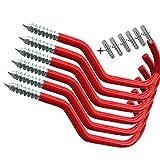 Crochets de rangement AIYoo pour vélo - Robustes - En plastique enduit pour montage mural ou au plafond - Rouges, rouge