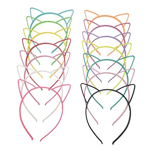 Hongfa Cat Ear Plastic Headbands Hairbands Party Costume Daily Decorations Party Headwear for Women Girls,14 Pieces