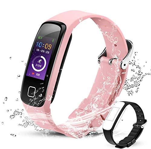 AGPTEK Fitness Armband Damen, Wasserdicht IP67 Fitness Tracker mit Schlafmonitor, Kalorienzähler Pulsmesser, Schrittzähler und Kalendermitteilungen, Smartwatch unterstützt für Anruf, SMS und SNS, Rosa