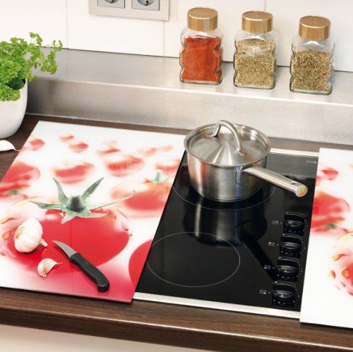 Zeller 26270 2-Piece Glass Cutting Board Set for Ceramic Hobs 52 x 30 cm Tomato Design by Zeller