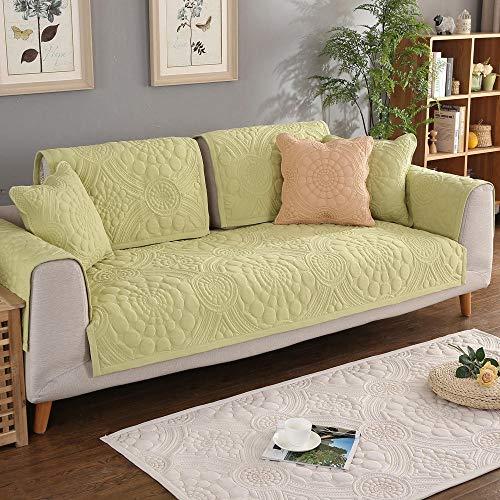 YUTJK Fashion Mehrzweck Sofabezug Sofaüberwurf aus Baumwolle, Couch Überzug, Bettüberwurf Tagesdecke Sofa Überzug, Schnittmuster-Krabbelmatte, Für Stoffsofa, Grün