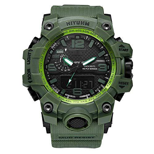 Relojes al aire libre para hombres prueba agua, segundo reloj militar LED impermeable, reloj de pulsera de cuarzo luminoso doble pantalla analógica digital, relojes pulsera electrónicos para natación