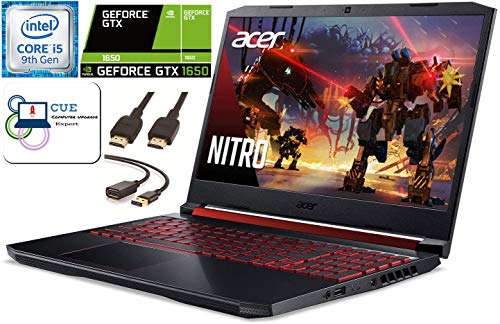 Acer Nitro 5 15.6 FHD Gaming Laptop, 9th Gen Intel Quad Core i5-9300H, NVIDIA GeForce GTX 1650, 8GB DDR4 RAM, 256GB NVMe SSD, WiFi 6, MaxxAudio, Backlit Keyboard, Windows 10 + CUE Accessories